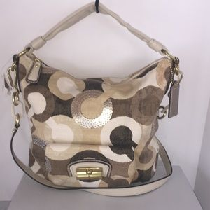 Coach Khaki/Multi Kristin Graphic Op Art Hobo Bag